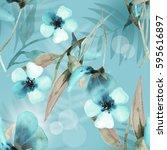 summer watercolor light pattern ... | Shutterstock . vector #595616897