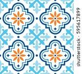 spanish tile pattern  moroccan... | Shutterstock .eps vector #595617899