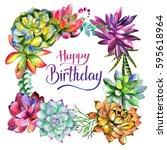 wildflower succulentus flower... | Shutterstock . vector #595618964