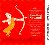 illustration of lord rama with... | Shutterstock .eps vector #595619837