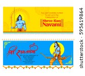illustration of lord rama with... | Shutterstock .eps vector #595619864