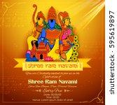 illustration of lord rama  sita ... | Shutterstock .eps vector #595619897