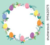 easter eggs decoration with... | Shutterstock .eps vector #595620575