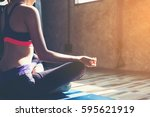 healthy women making yoga... | Shutterstock . vector #595621919