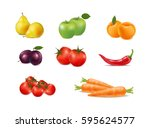 set of fresh fruit and... | Shutterstock .eps vector #595624577