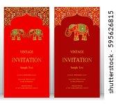 indian invitation card... | Shutterstock .eps vector #595626815