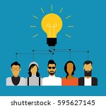 icons of people with bulb.... | Shutterstock .eps vector #595627145