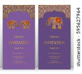 indian invitation card... | Shutterstock .eps vector #595627964