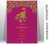 indian invitation card... | Shutterstock .eps vector #595628795
