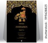 indian invitation card... | Shutterstock .eps vector #595628825