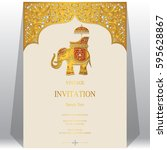 indian invitation card... | Shutterstock .eps vector #595628867
