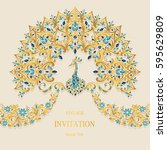 invitation card templates with... | Shutterstock .eps vector #595629809