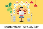 web social network concept for... | Shutterstock .eps vector #595637639