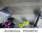 healthy fitness lifestyle... | Shutterstock . vector #595648541