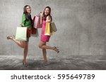 beautiful two asian females...   Shutterstock . vector #595649789