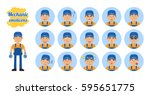 big set of workman emoticons.... | Shutterstock .eps vector #595651775