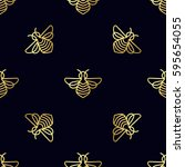 seamless pattern with gold bee | Shutterstock .eps vector #595654055