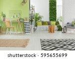 bright apartment in green and... | Shutterstock . vector #595655699