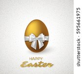 realistic 3d golden easter egg... | Shutterstock .eps vector #595661975