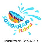 vector logo for songkran... | Shutterstock .eps vector #595663715