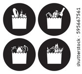 Grocerie Bag Icons. White On A...