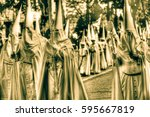 the catholics in the processions | Shutterstock . vector #595667819