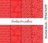set of vector seamless... | Shutterstock .eps vector #595674299