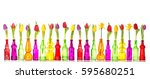 tulips and daffodil flowers in... | Shutterstock . vector #595680251