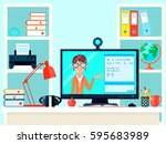 e learning distance teacher... | Shutterstock .eps vector #595683989