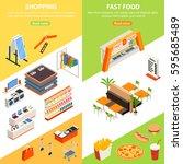 shopping mall vertical banners... | Shutterstock .eps vector #595685489