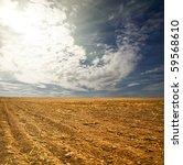 potato field on a sunset under... | Shutterstock . vector #59568610