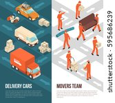 colored and isometric delivery... | Shutterstock .eps vector #595686239