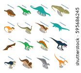 Dinosaurs Set Of Isometric...