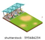 golf training isometric... | Shutterstock .eps vector #595686254