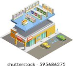 supermarket store building... | Shutterstock .eps vector #595686275