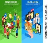 crowdfunding business ideas and ... | Shutterstock .eps vector #595686281