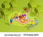 family summer holiday... | Shutterstock .eps vector #595686389