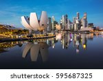singapore cityscape at dusk.... | Shutterstock . vector #595687325