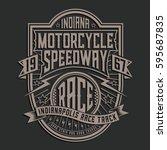 motorcycle racing typography ... | Shutterstock .eps vector #595687835
