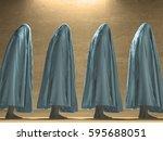 white clothed figures  3d render | Shutterstock . vector #595688051