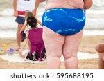 legs of an obese woman. fat... | Shutterstock . vector #595688195