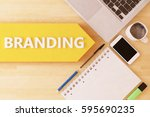 branding   linear text arrow... | Shutterstock . vector #595690235
