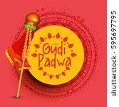vector illustration of gudi... | Shutterstock .eps vector #595697795