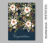 romantic pink peony bouquet... | Shutterstock .eps vector #595707251