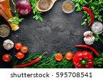 fresh vegetables  chili  onion  ... | Shutterstock . vector #595708541