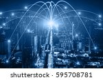 business networking connection... | Shutterstock . vector #595708781