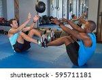 partner exercises with medicine ... | Shutterstock . vector #595711181