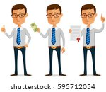 Funny Businessman Holding A...