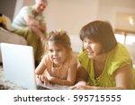 grandmother and granddaughter... | Shutterstock . vector #595715555