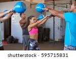 dedicated and strong kettlebell ... | Shutterstock . vector #595715831